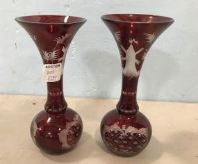 Bohemian Red Glass Vases