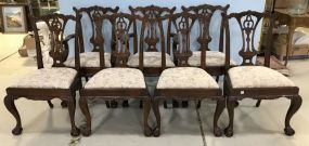 Seven  Chippendale Reproduction Dinning Chairs