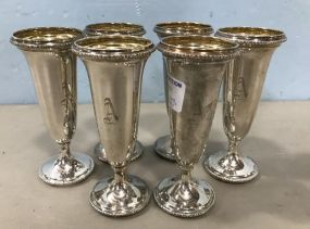 Six Sterling Champagne Flutes