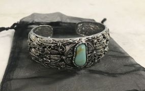 Elaborate Silver Tone Metal Turquoise Stone Cuff Bracelet