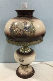 Vintage Hand Painted Globe Lamp