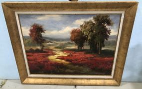 Large Giclee Painting of Landscape by K. Pierre