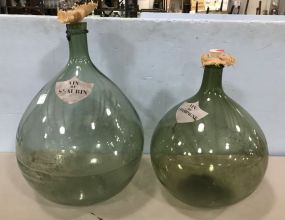 Two Large Champagne Glass Jugs