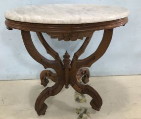 Flame Mahogany Victorian Ca. 1860 Oval Marble Top Table