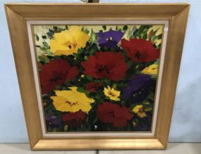 Large Modern Giclee Painting of Sunflowers in Gold Gilt Frame