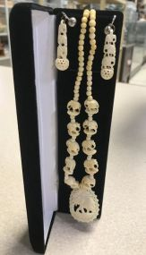 Bone Carved Elephant Necklace and Earrings
