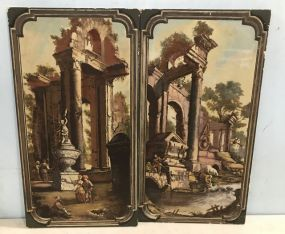 Pair of Highly Decorative 1960's Hand Painted Wall Panels