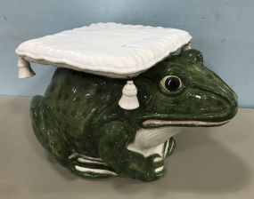 Large Hand Painted Ceramic Frog Planter Stand