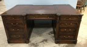 Antique Reproduction Double Pedestal Partners Desk