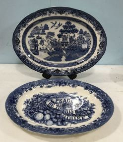 Currier and Ives Platter and Blue Willow Platter
