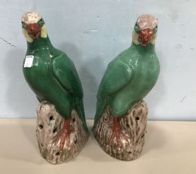 Pair of Hand Made Oriental Style Pottery Parrots