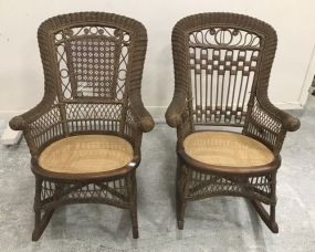American Victorian Wicker Rocking Arm Chairs