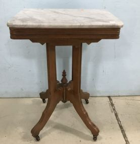 Eastlake Square Marble Top Lamp Table