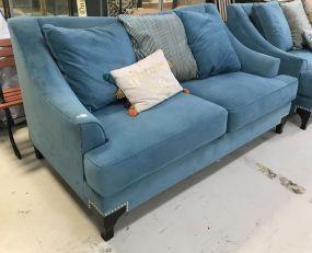 Modern Turquoise Fabric Love Seat