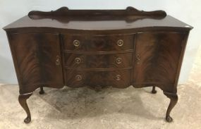 Burl Mahogany Queen Anne Style Buffet