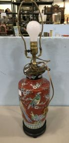 Hand Painted Oriental Style Porcelain Vase Lamp
