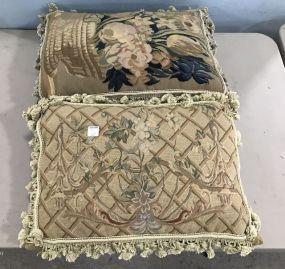 Pair of Needle Point Throw Pillows
