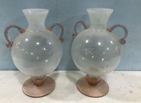 Pair of Decorative Art Glass Vases
