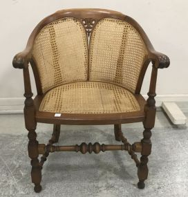 Vintage Mahogany Cane Hall Chair