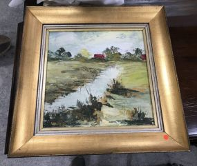 Landscape Painting On Canvas Signed Sina