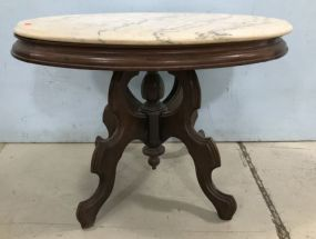 Oval Ca. 1870 Transitional Marble Top Table