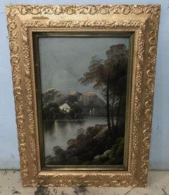 Oil Painting of Swiss Alps Scene