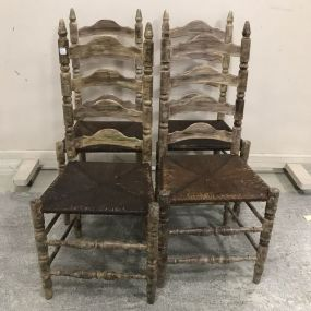 Vintage Painted Ladder Back Dinning Chairs