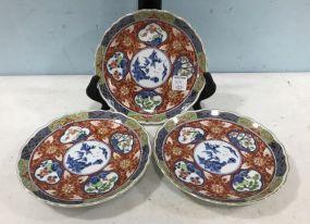 Three Imari Hand Painted Plates