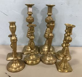 Group of Brass Colonial Style Candle Holders