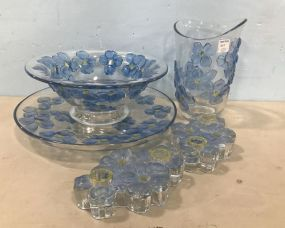 Blue Flower Glass Serving Pieces