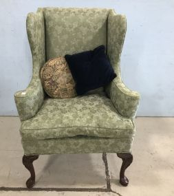 Queen Anne Green Satin Down Filled Wing back Chair