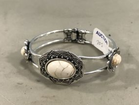 New Silver Tone Bracelet with Faux Stone