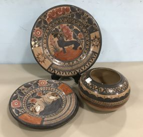 Hand Painted Mexico Pottery Chargers and Bowl