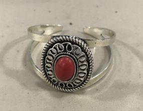 New Silver Tone Faux Stone Cuff Bracelet