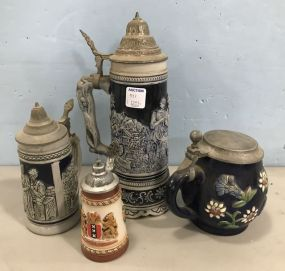 Four Collectible Beer Steins