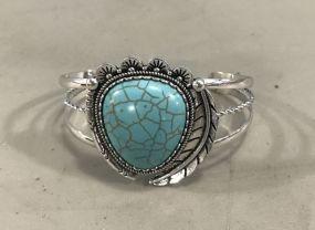 New Southwest Style Silver Tone Faux Turquoise Cuff Bracelet