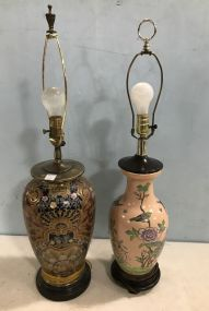 Pair of Hand Painted Ceramic Vase Lamps