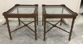 Pair of French Style Glass Top Side Tables