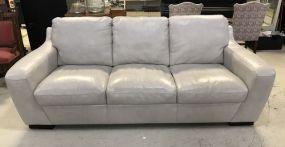 White Vinyl Three Cushion Sofa