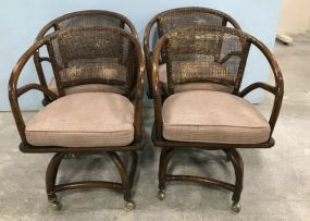 Ficks Reed Bamboo Cane Back Club Chairs