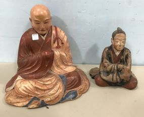 Pottery Buddha and Wood Buddha
