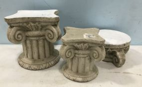 Three Pottery Display Pedestal