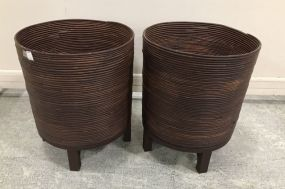 Pair of Round Bentwood Planters
