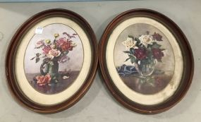 Two Oval Framed Still Life Prints