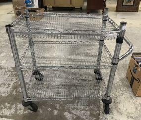 Modern Metal Three Tier Push Cart