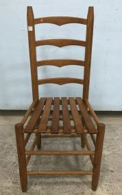 Primitive Reproduction Ladder Back Oak Chair