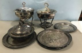 Group of Silver Plate Warmers and Serving Trays