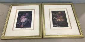 Pair of Framed Antique Floral Glory Prints