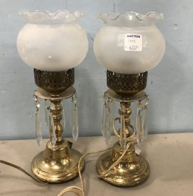 Pair of Vintage Brass Globe Lamps