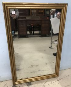 Modern Gold Gilt Bamboo Style Wall Mirror